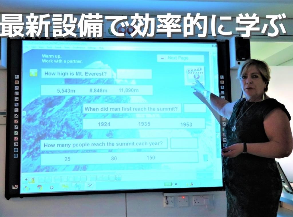 電子黒板を使ってレッスンする教師
