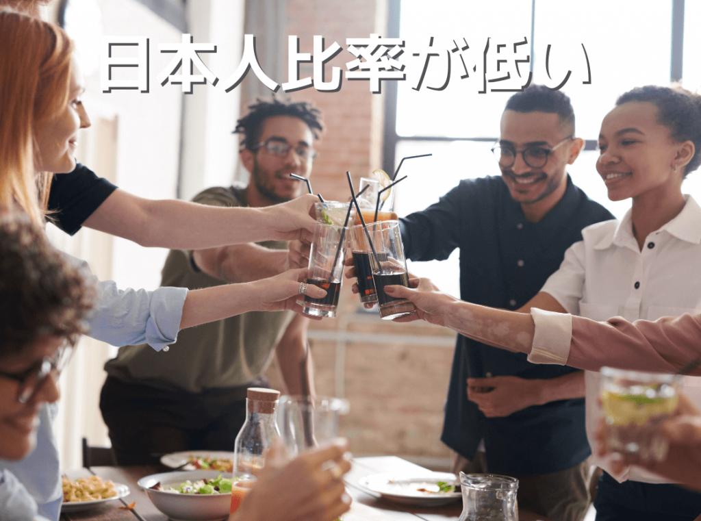 日本人留学生比率が他の英語圏に比べて低く英語漬けになれる